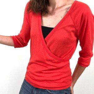 NWT Boston Proper Orange Surplice V-Neck Top
